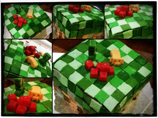 7th birthday cake for the boy - minecraft theme.