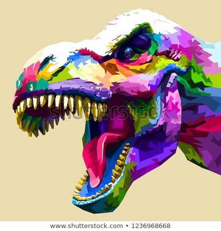 Vector de stock (libre de regalías) sobre Cabeza de color Tyrannosaurus Rex1236968668
