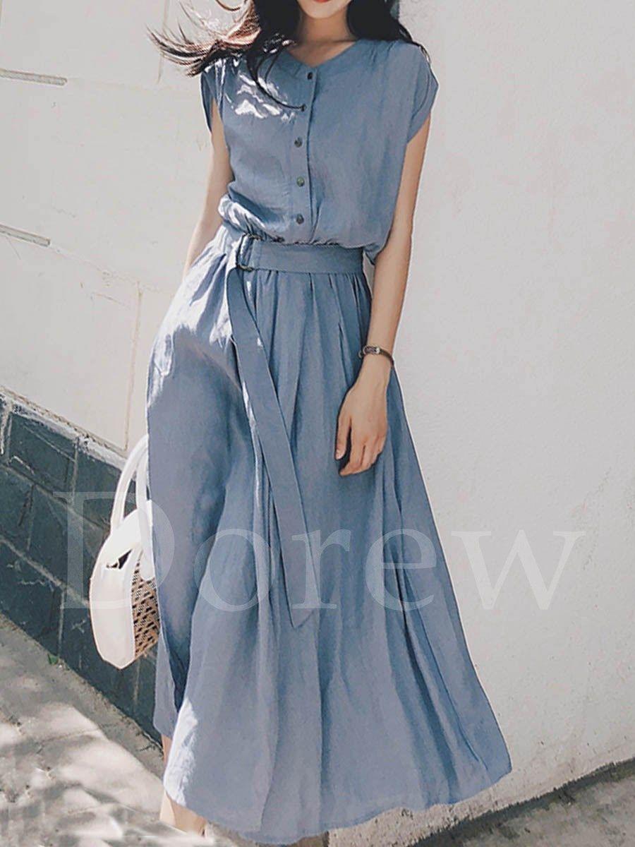 1914b8b5659 ファッション通販 #Fashion IMINOARU Dorewレトロワンピースベルト付きレディースファッション半袖ミモレ丈