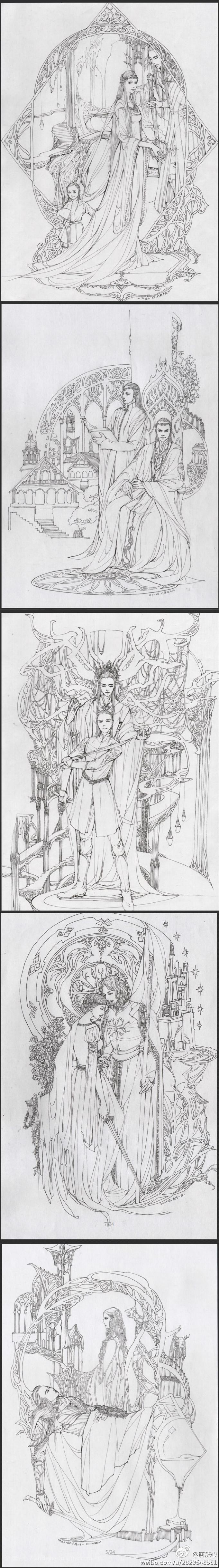 Thranduil y su familia; Elrond y Lundir; Тhranduil y Legolas; Eowyn ...