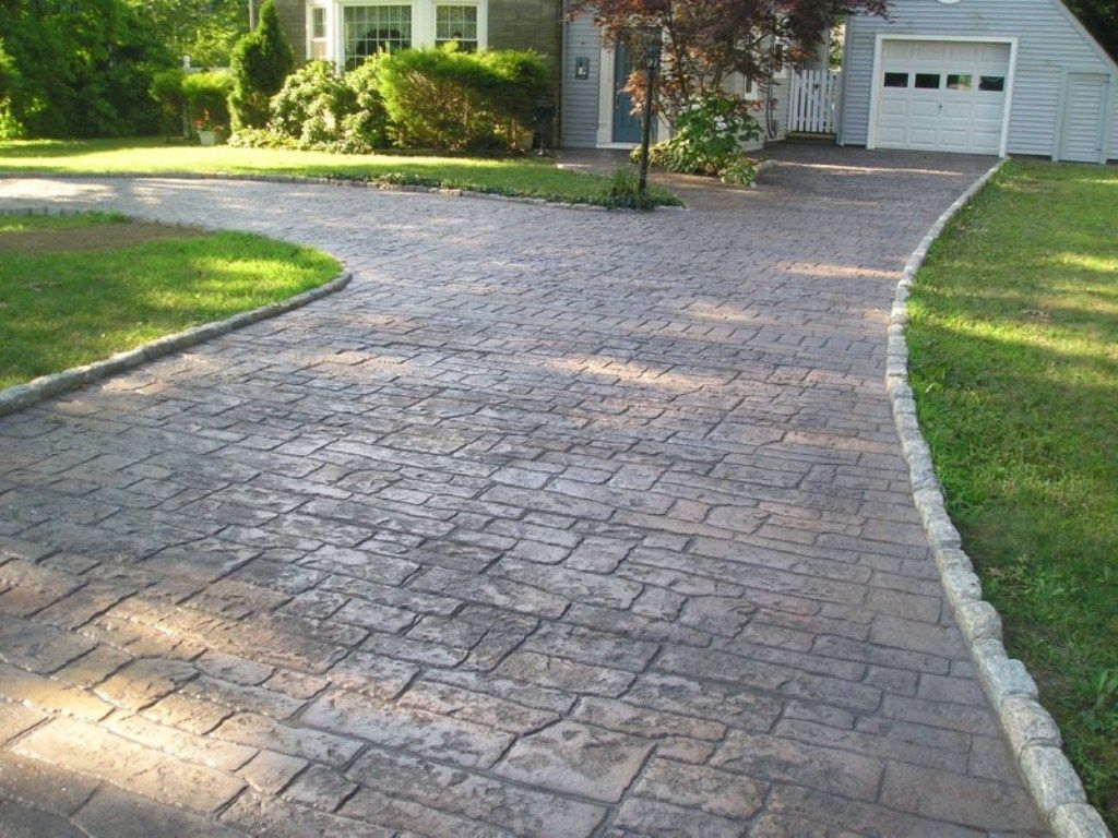 Stamped Concrete Driveways Ideas Best Stamped Concrete Vs Pavers