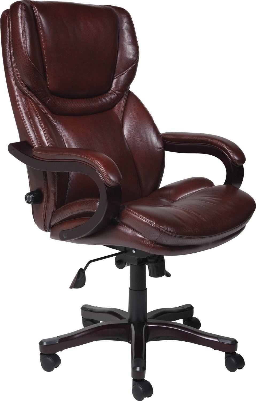 Serta Big Tall Charcoal Microfiber Executive Chair Brown Leather