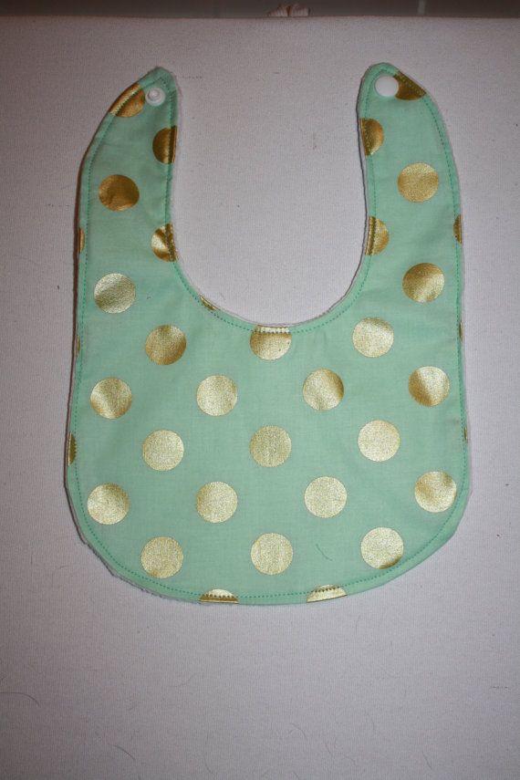 Baby Bib Mint & Gold Polka Dot Bib with Minky by AddiesThings