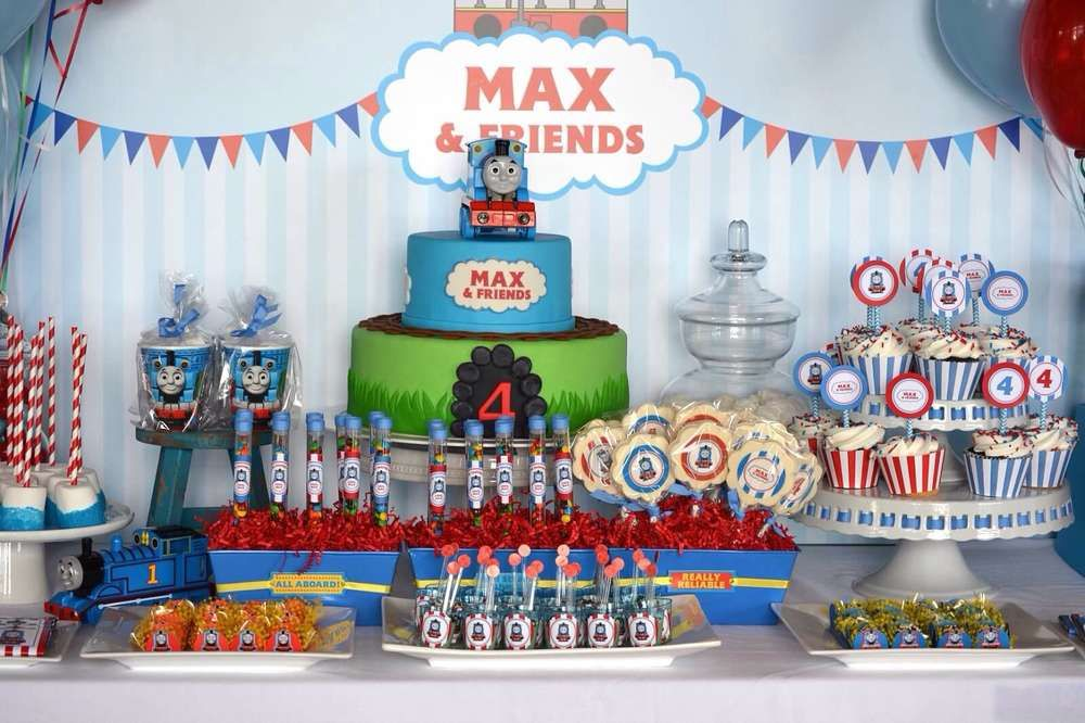 Thomas The Tank Engine Boy Birthday Party Backdrop And Dessert Table See More Ideas At CatchMyParty