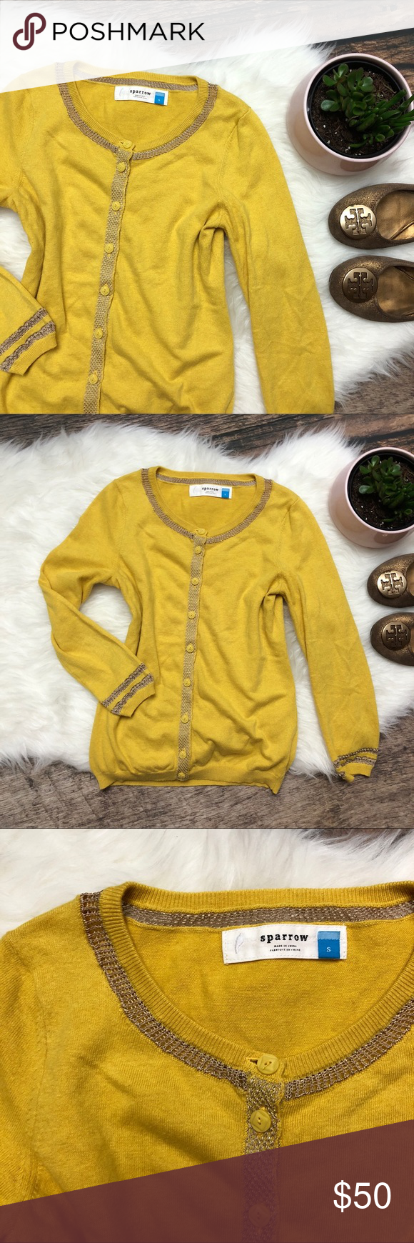 ANTHROPOLOGIE Yellow Gold Cardigan Sweater | Gold cardigan, Yellow ...