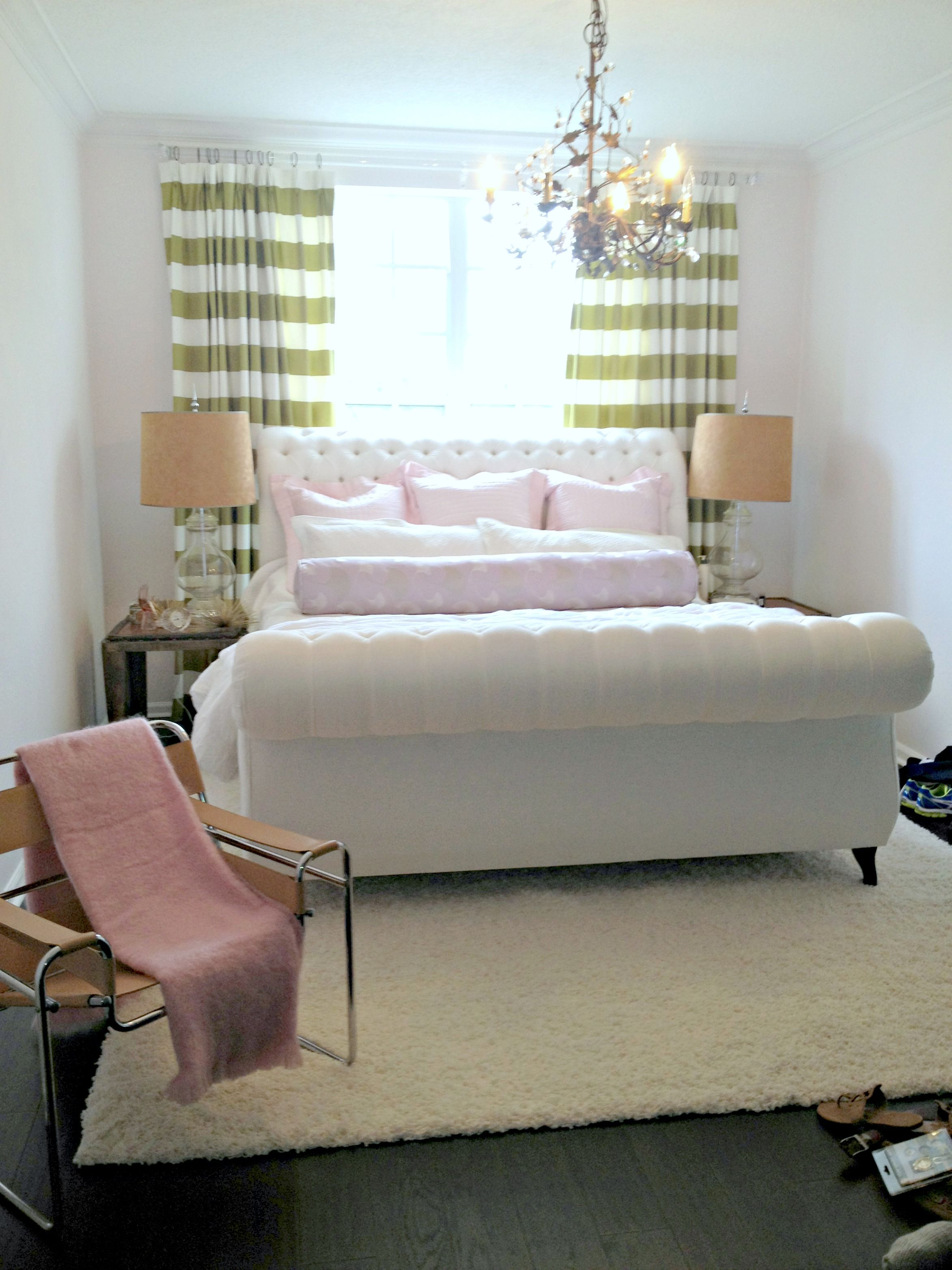 chartreuse curtains, white tufted sleigh bed, wassily chair, master ...