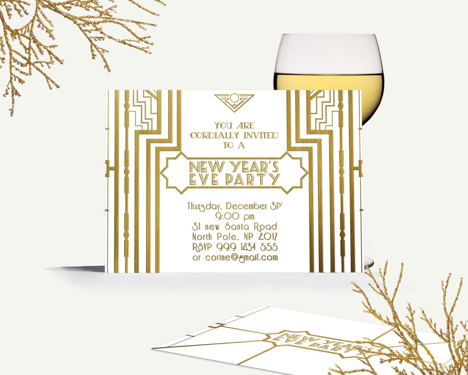 digital great gatsby new year invite art deco new year invitation white and gold