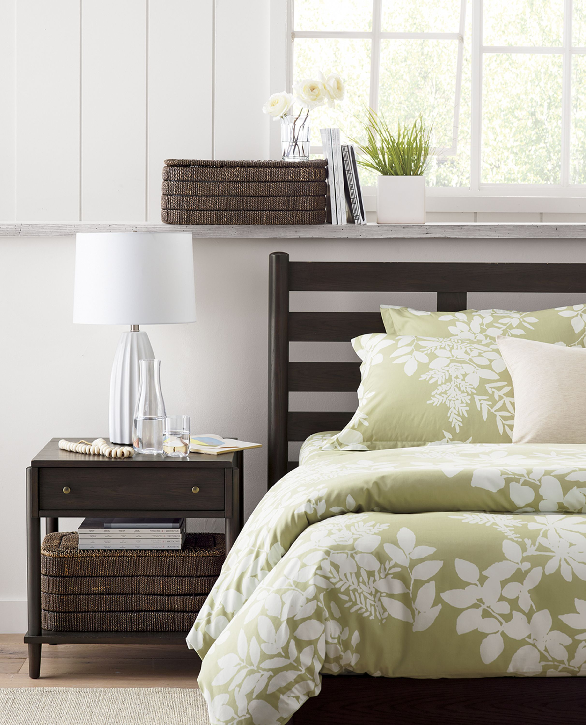 Shaker simplicity and scandinavian warmth inspire our barnes collection the beds airy horizontal slats and rounded vertical posts showcase the woods rich