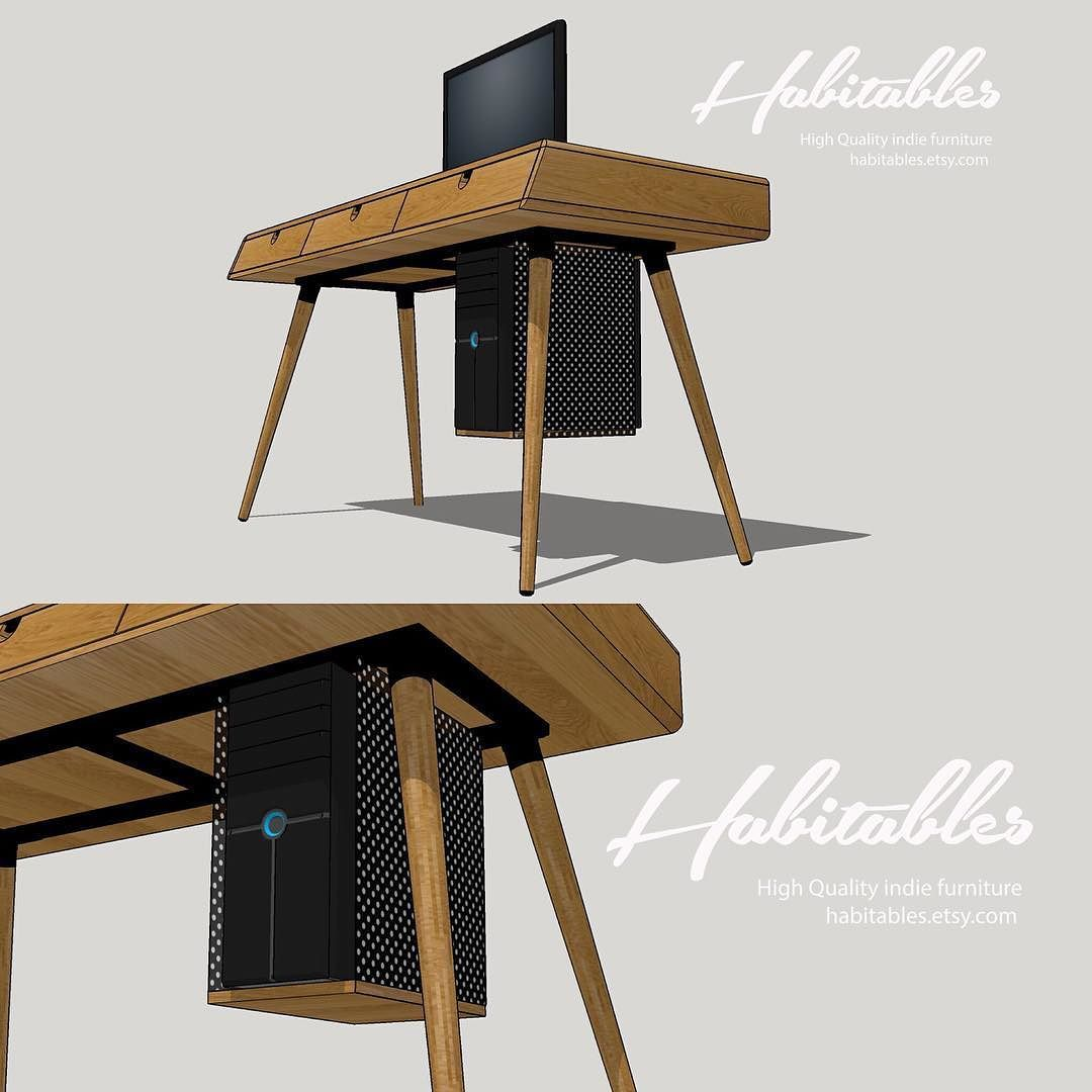 Indie Furniture Desk In Oak With Cpu Cabinet Handmadelife Etsy Oak Furniture
