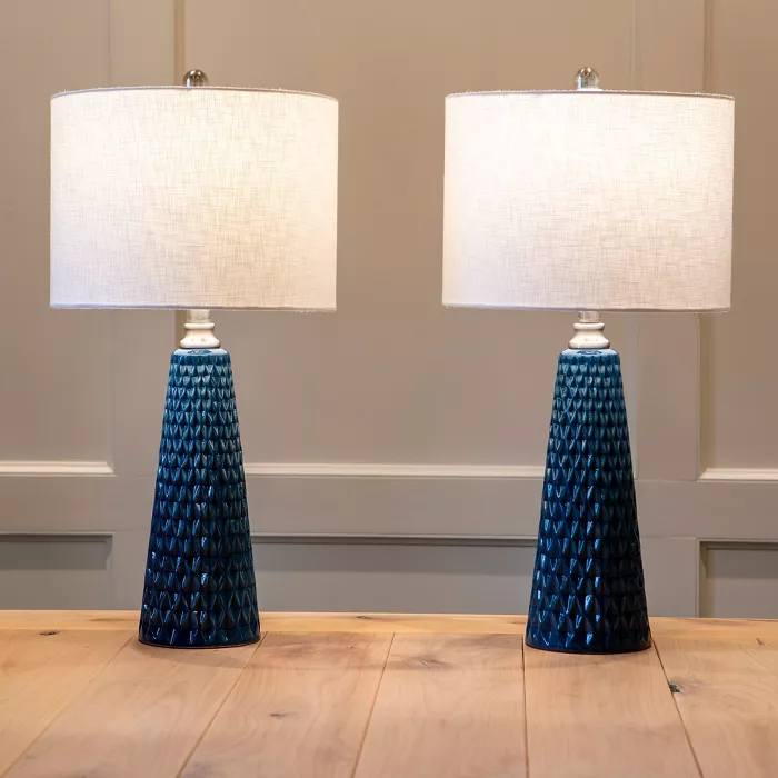26 5 Set Of Two Jameson Textured Ceramic Table Lamp Cobalt Blue Decor Therapy Ceramic Table Lamps Cobalt Blue Decor Decor Therapy Set of two table lamps
