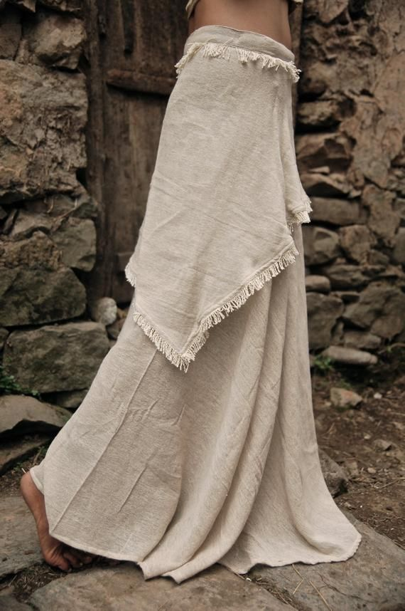 Long Gypsy Boho Off White Wrap skirt Earthy cotton Adjustable