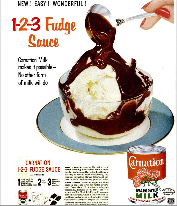 Fudge Sauce Recipe 1 2 3 Fudge Sauce Carnation Evaporated Milk Ad September 7 1953 Fudge Sauce Sweet Sauce Hot Fudge