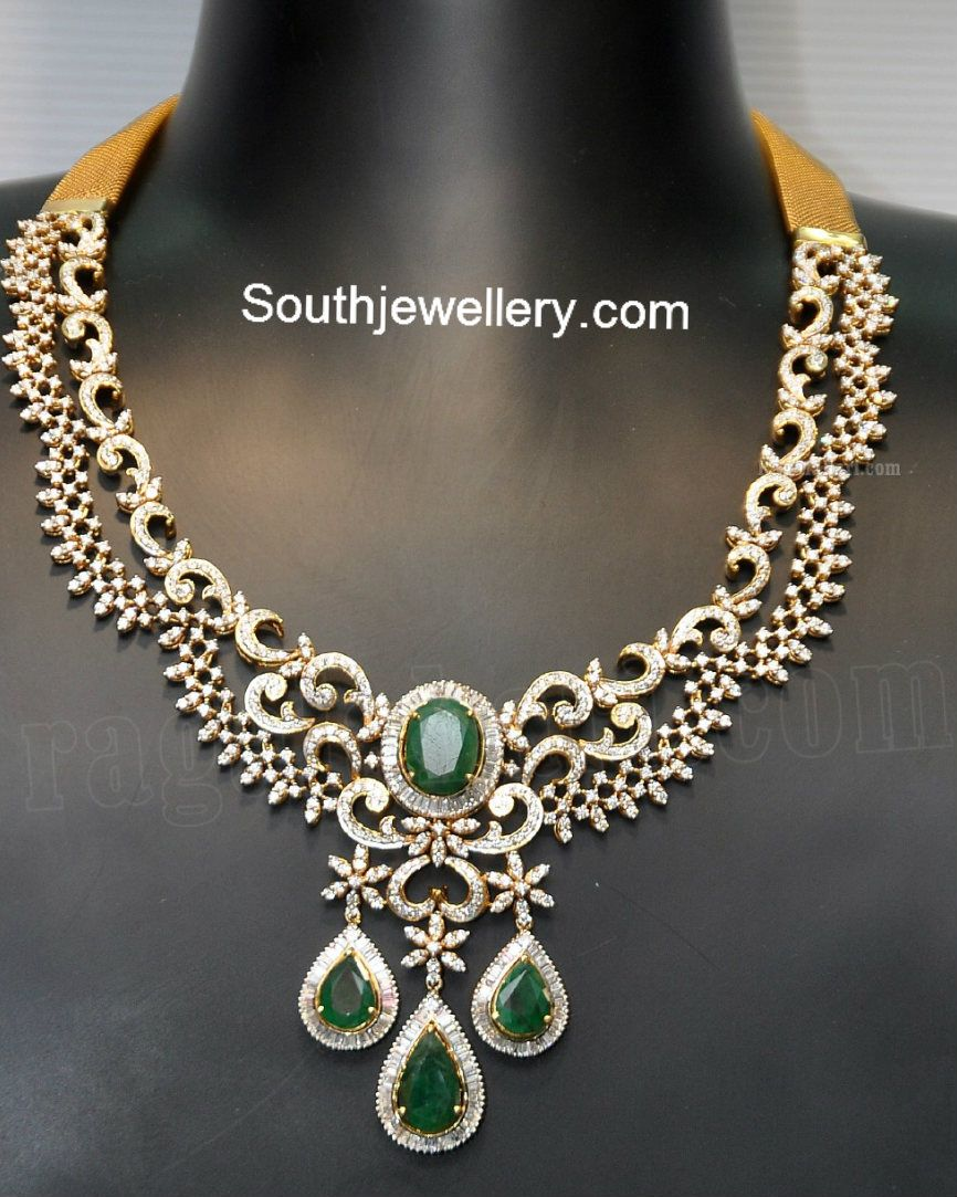Dazzling diamond necklace studded with emeralds by grt jewellers