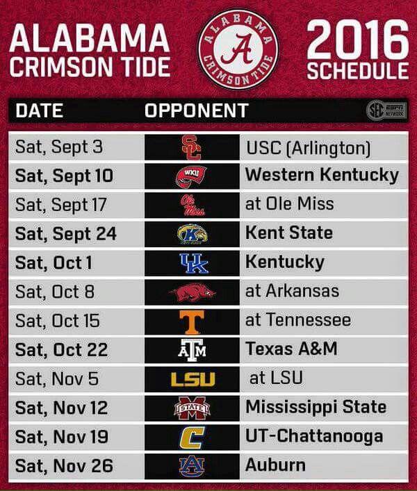 Alabama 2016 Schedule Alabama Crimson Tide Football Crimson