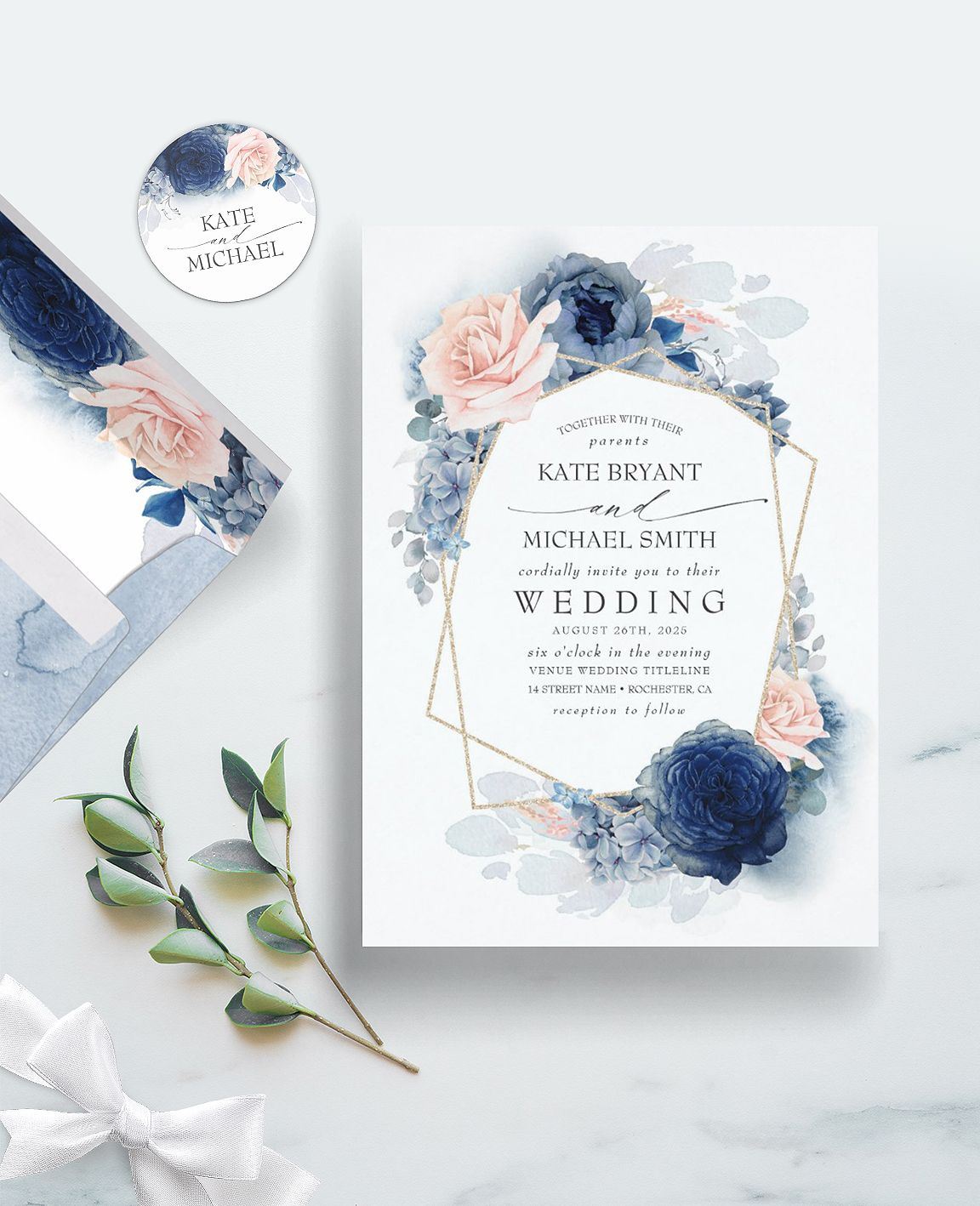Blush Dusty and Navy Blue Floral Wedding Invitation | Zazzle.com