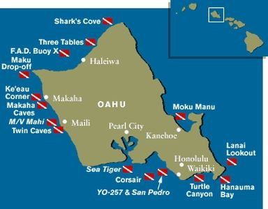 Oahu diving map dive in Hawaii like in 2019