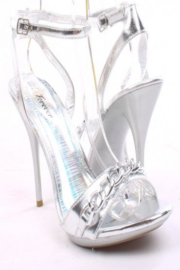 03a4a8d2eae SILVER PATENT FAUX LEATHER OPEN TOE ANKLE STRAP HEELS