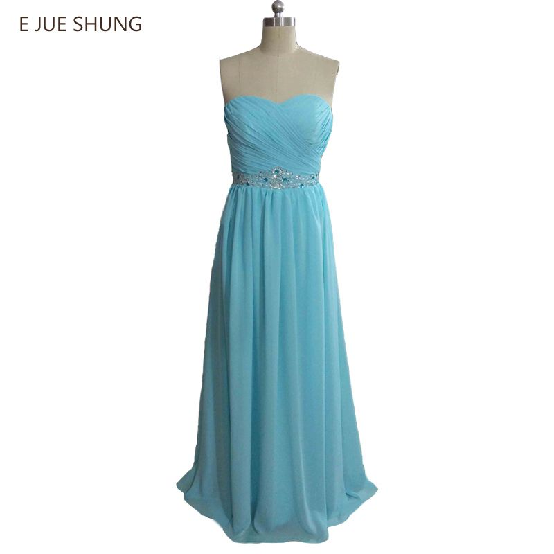 Click to Buy    E JUE SHUNG Blue Chiffon Bridesmaid Dresses Long ... 862ee90c1178