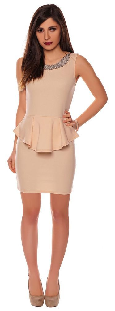 PEPLUM ROSA NUDE BESTICKT PARTY COCKTAIL ABENDKLEID STRETCH DAMEN M L 38 40