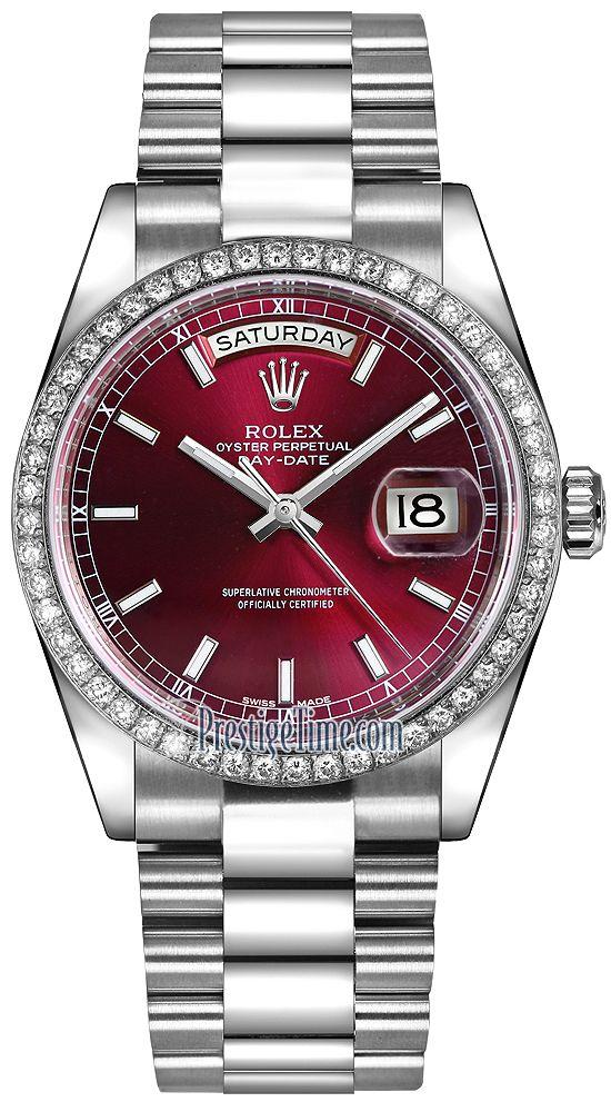 566b7890b8c Rolex Day-Date 36mm Platinum Diamond Bezel 118346 Cherry Index President