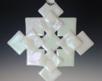 PRISM White Iridized Snowflake, Fused Glass Ornament Suncatcher