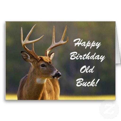 Happy National Hunting And Fishing Day: Hunting Funny Buck Animal Camo Happy Birthday 3 Card
