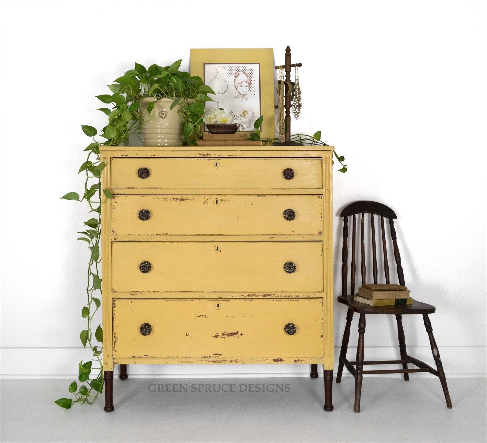 Available Antique Chest Of Drawers Antique Yellow Dresser Chippy Milk Painted Dresser Four Drawer Shab Yellow Painted Furniture Yellow Furniture Yellow Dresser