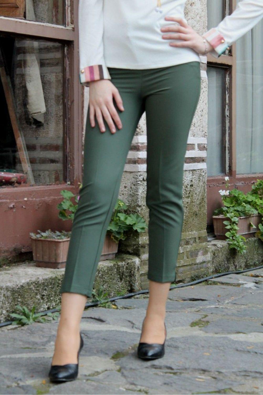 Yirtmacli Dar Paca Haki Bayan Kumas Pantolon Cepli Moda Mistik Moda Kumas Pantolonlar Pantolon
