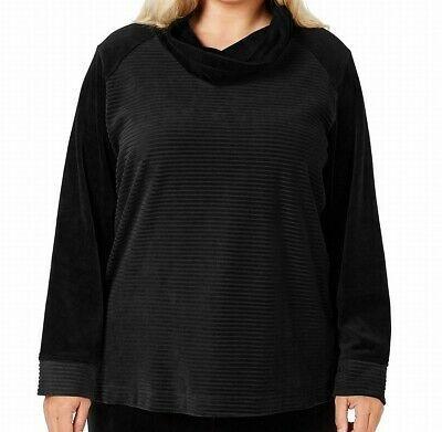 (eBay Ad) Karen Scott Women's Activewear Pullover Black Size 3X Plus Cowl Neck $49 #087