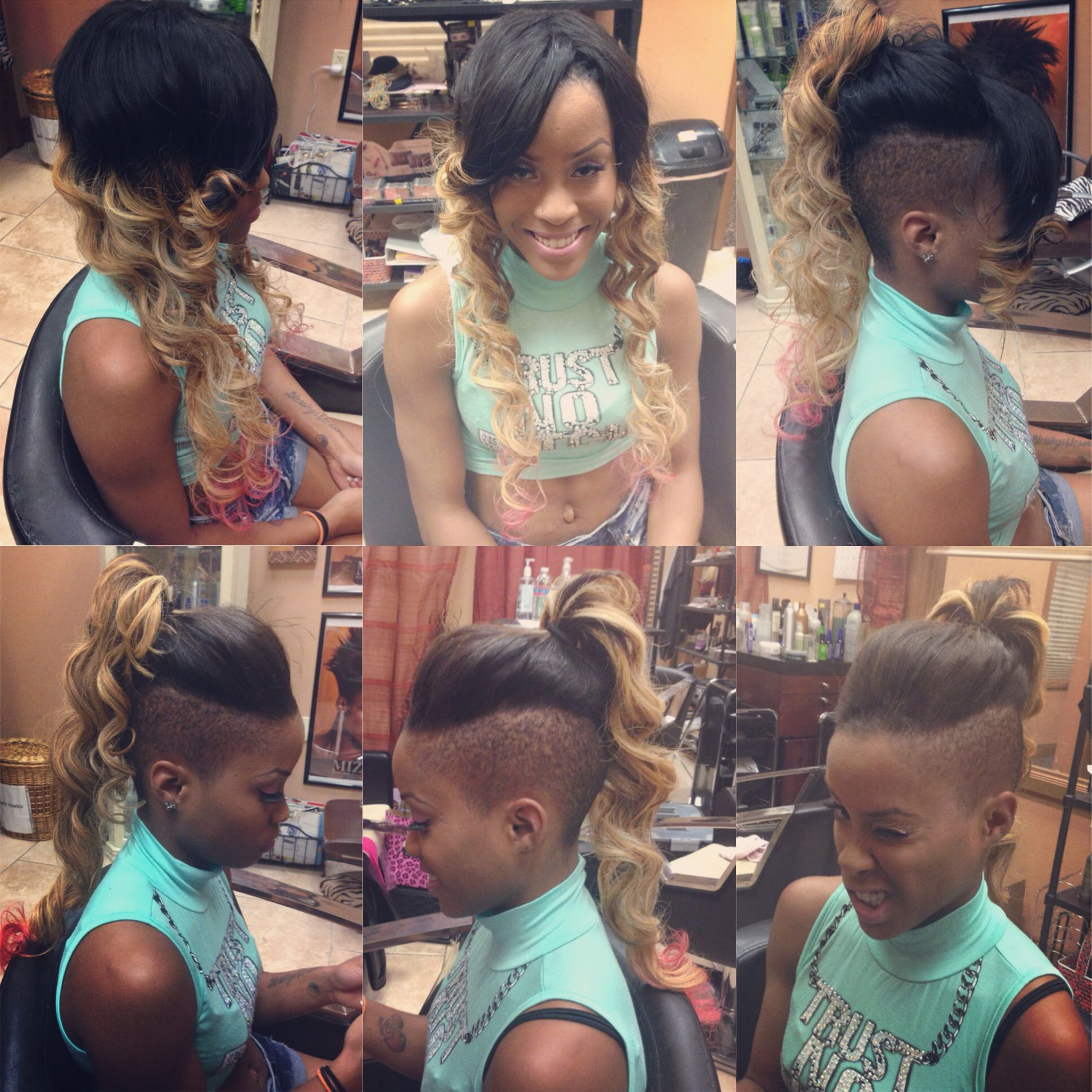 Custom colored rihanna inspired versatile mohawk sewin done by