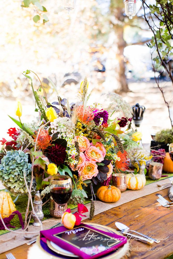 Reno NV Nevada Thanksgiving Table Fall Styled Wedding Thanksgivingtable Menucard Floral Floraldesign Centerpiece