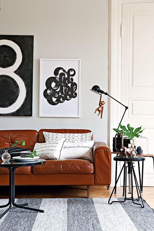 Zwart Wit Leren Bankstel.Liefde Voor De Cognac Leren Bank Ideeen Voor Thuisdecoratie