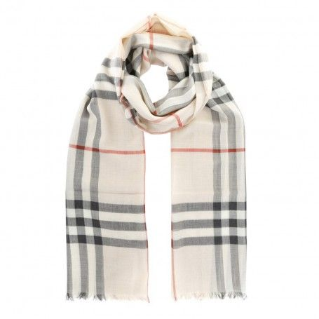 Burberry Schal Giant Gauze Scarf Check Trench In Beige Aus Wolle