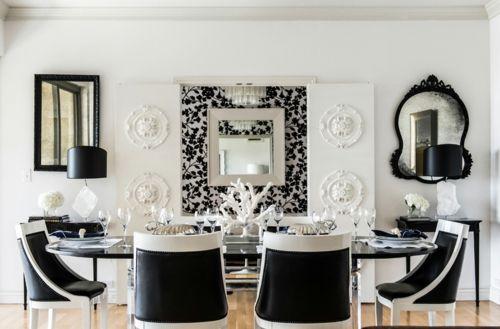 Inneneinrichtung in Schwarz Weiß u2013 20 Esszimmer Interieurs - Esszimmer Modern Weiss
