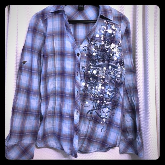 Must have! Western bling,lightweight top-wet seal Really cute rhinestone plaid,  button up Western top,  by wet seal. Must-have for any fashionable night out. Wet Seal Tops Blouses