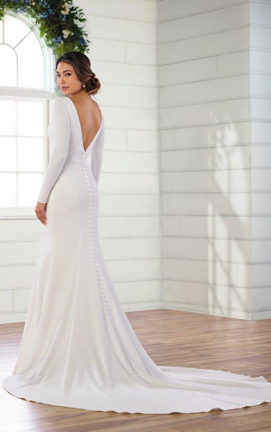 Simple And Sleek Long Sleeved Sheath Wedding Dress Sleek Wedding Dress Winter Wedding Dress Sheath Wedding Dress
