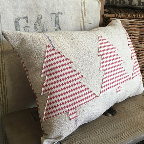 Farmhouse Christmas Pillow Vintage Grain Sack Pillow Red