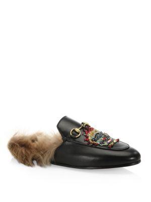 3e44367d7af GUCCI Princetown Fur   Leather Mules With Dragon.  gucci  shoes  sandals