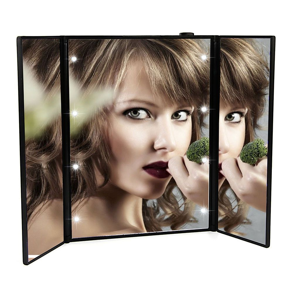 Portable LED Touch Screen Vanity Mirror Folding Table 8 LED Lights Luminous  Professional Cosmetic Makeup Mirror