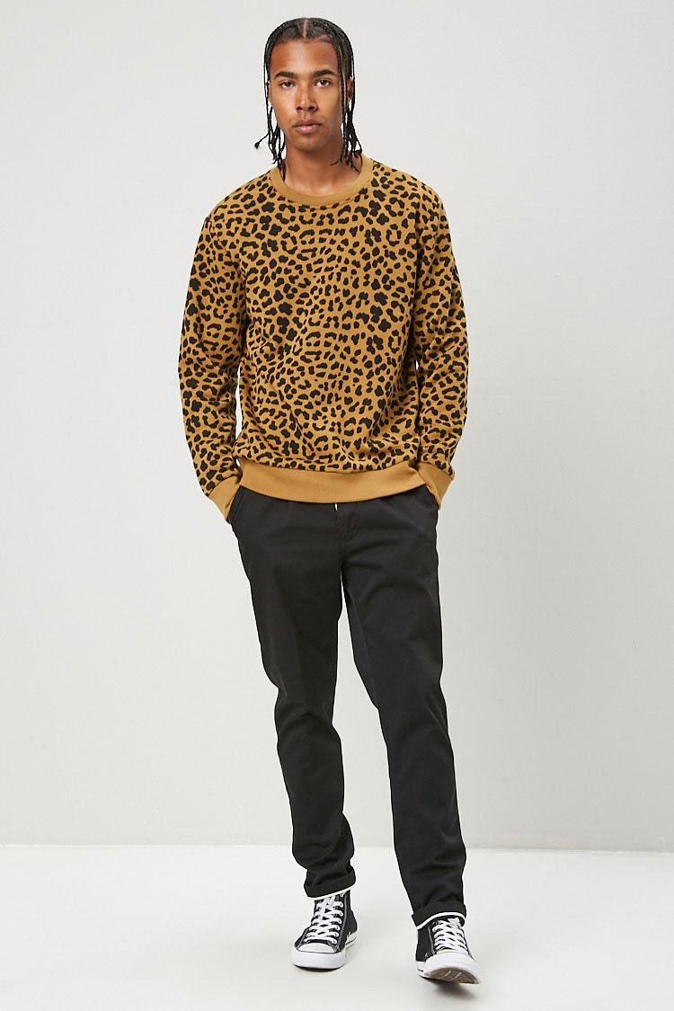 Jacquard Knit Sweater Brown Leopard Print Men H M Us Long Sleeve Tshirt Men Men Men Sweater [ 1200 x 800 Pixel ]