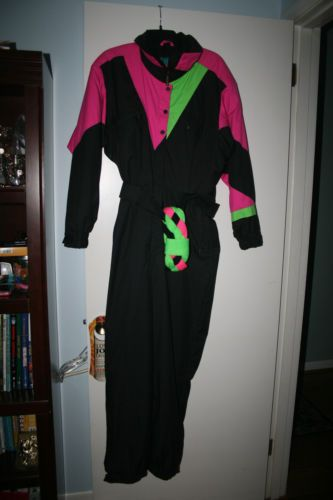 410d9edaf3d Vintage-1980-039-s-Black-Bear-One-Piece-Snow-Suit-Snow-Bib-Coat-Women-039-s -Large-amp-Band