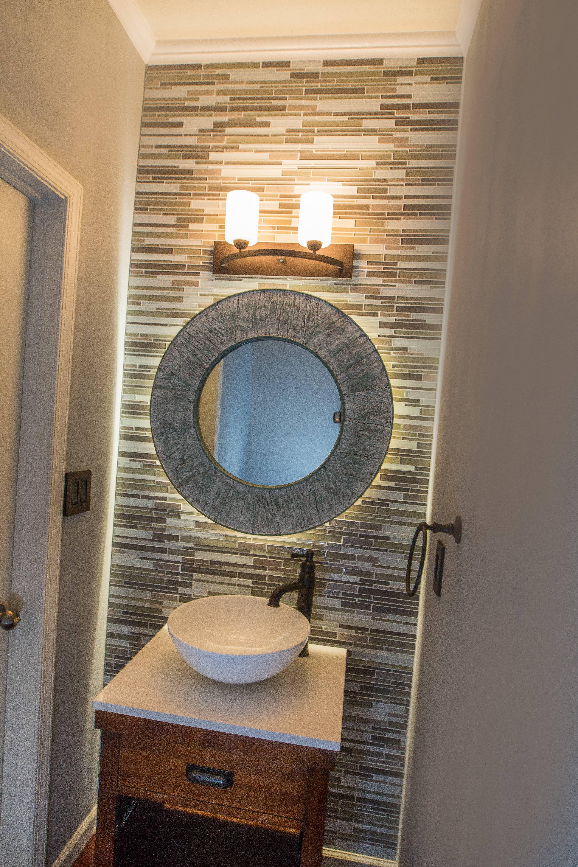 Bathroom remodel with LED lights behind mirror #handmade # ...