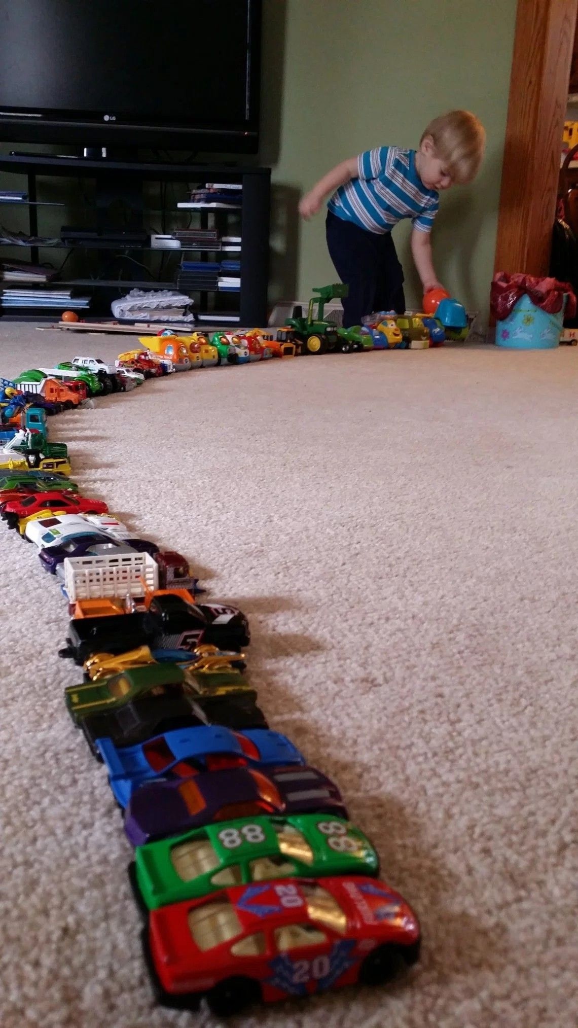 Lining up toys developmentally appropriate play or sign of Autism