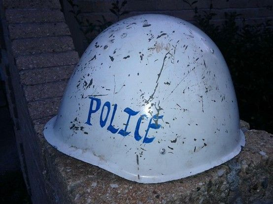 Resused Soviet Helmet- Adapted for use by the Afghanistani Police, post liberation.