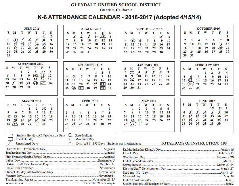 Fresno Unified 2016 2017 Calendar Calendar Template 2016 News To