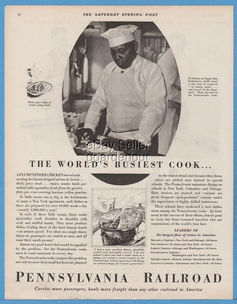 1928 Pennsylvania Railroad Kitchen Train Car Cook Black