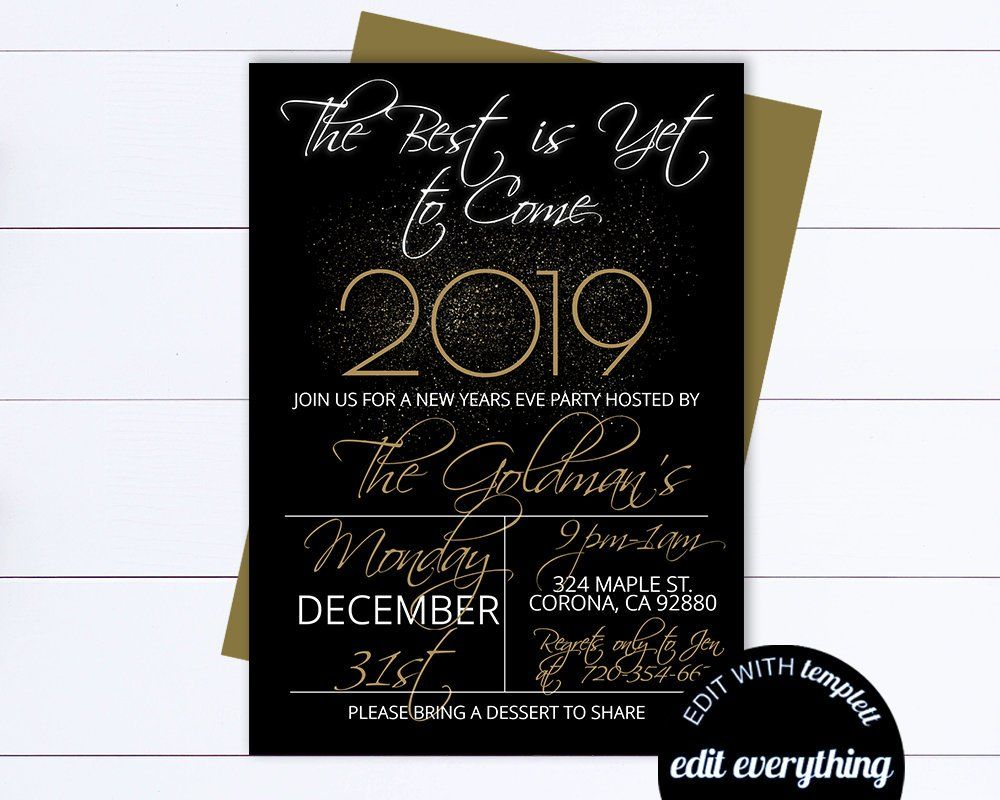 New Years Eve Party Invitation Template Black And Gold | Etsy | Party  invite template, New years eve party, Invitation template