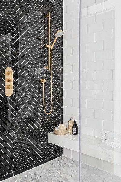 Herringbone High-End Herringbone - 16 Showers That Give Us Serious Bathroom Envy - PhotosHigh-End Herringbone - 16 Showers That Give Us Serious Bathroom Envy - Photos
