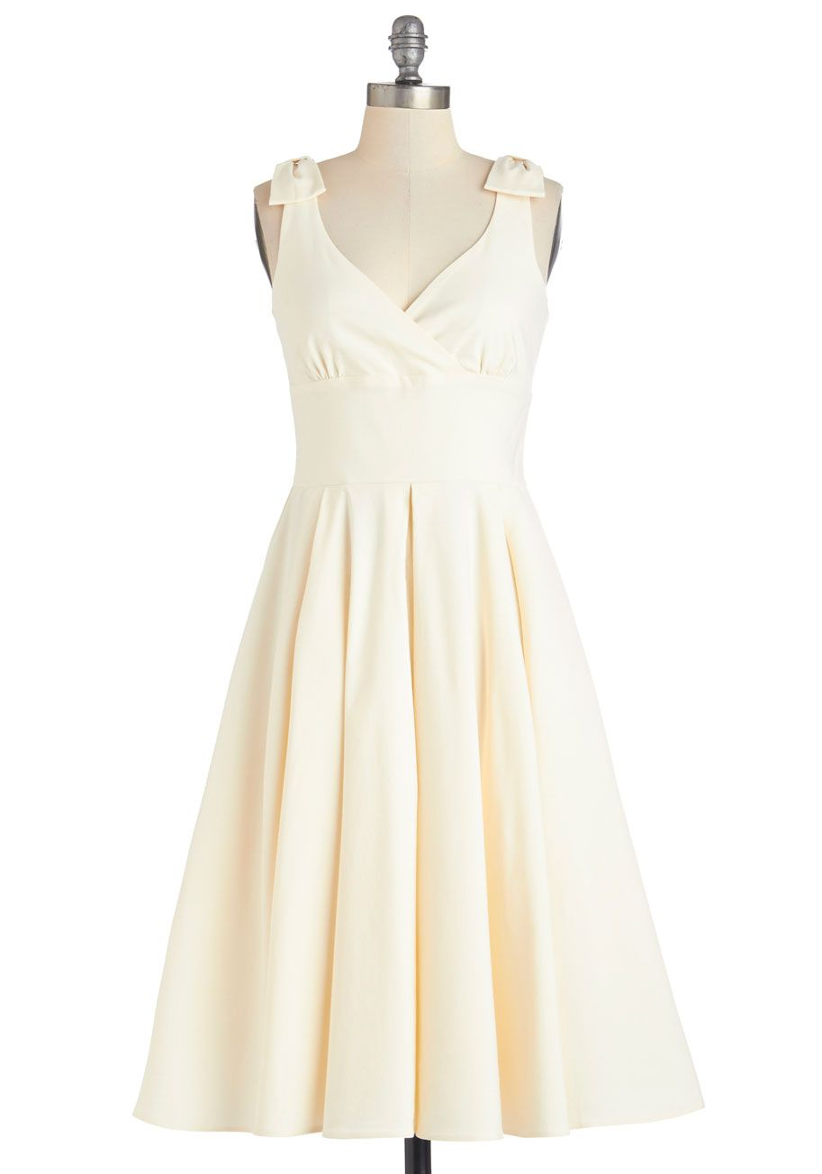 Cute wedding reception dresses for the bride  According to Etiquette Fit and Flare Dress in White  ModCloth