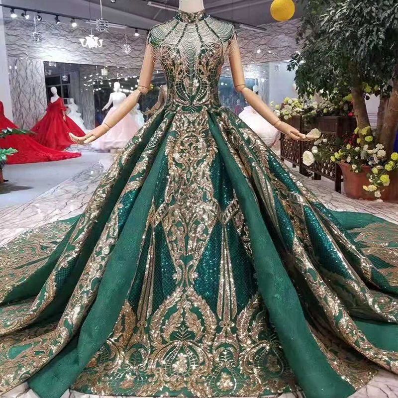 Photo of luxury green Arabic Evening Gown with chapel train